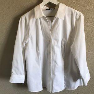 Jones New York no iron white button down shirt